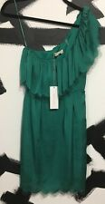 NWT $315 Rebecca Taylor Green Eyelash One Shoulder Dress Cocktail Gown Small 0