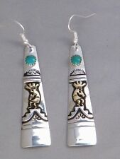 Rosita & Tommy Singer Navajo Indian Sterling Gold Kokopelli Turquoise Earrings
