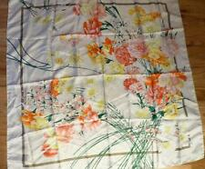 """BROOKS BROTHERS FLORAL CREAM SILK SCARF 34"""" SQUARE"""