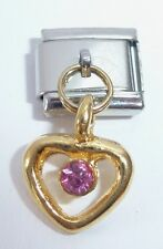 GOLD HEART PINK GEM Italian Charm - 9mm Classic Size October Gems I Love You N72