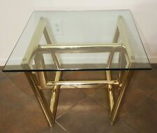 Vtg MCM Regency Milo Baughman cubist sculptural brass abstract modern side table