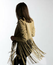 THE perfext beige daim christy fringe jacket xs