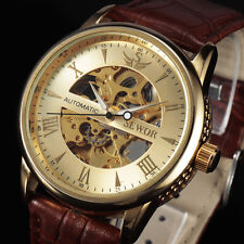 Classic Gold Dial Design Mens Skeleton Mechanical Watch Vintage Dress Reloj Male