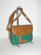 LANCEL Paris Green Canvas w/Cognac Leather Cross-Body / Shoulder Bag