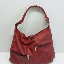 Pulicati Italia Red Leather Shoulder Tote Hobo Purse Zip Closure Large