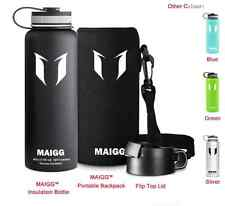 MAIGG Vacuum Insulated Stainless Steel Water Bottle - Black 40oz -(With 2 Caps a
