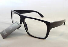 Performance Eyewear Clear Lens Glasses BLACK Frame Unisex Mens Nerd Trendy New
