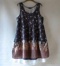 NEW JOE BROWNS Paisley Floral Layered BOHO Tunic Top With Pockets Size 12
