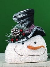 Small Crinkled Frosty SNOWMAN HEAD Ornament, Wreath decoration or Garland a