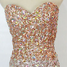 Jovani USA Designer Size 10 Prom Formal Evening Long Gold Silver NWT Dress Gown