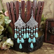 Water Drop Turquoise Tassel Chain Dangle Earrings  Tibet Silver Flower Jewelry