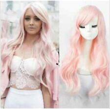 WOMEN'S LONG PASTEL PINK CURLY HEAT RESISTANT FASHION WIG