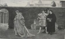 1901 Large Antique Print - Cardinal Wolsey Rebuffed By The King - Hampton Court