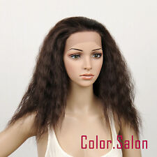 HAND TIED Synthetic Hair LACE FRONT FULL WIGS GLUELESS Dark Brown 98#4