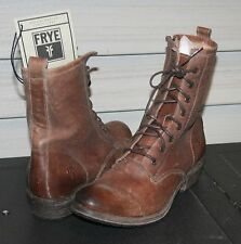 FRYE CARSON LUG LACE UP US 9 Woman's Military Style Boot Cognac