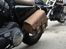 Top Brown Leather Solo Single Sided Pannier Saddle Bag Harley Davidson Sportster