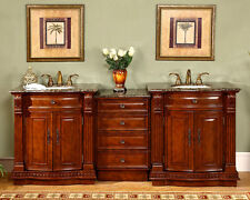 "84.5"" Cherry Finish Cabinet Bathroom Stone Top Double Sink Lavatory Vanity 206BB"
