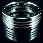 Mens Tungsten Carbide Ring Grooved Mirror Wedding Engagement Band 8mm