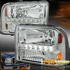 BRIGHTEST (LED DRL Bar) 1999-2004 Ford F250 F350 Super-Duty Chrome Headlights