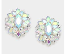 "1.5"" Big Pierced Stud Aurora Borealis Ab Silver Clear Pageant Crystal Earrings"