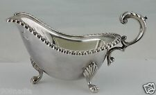 ANTIQUE SILVER PLATE GRAVY/SAUCE BOAT VICTORIAN BEADED RIMS,LION CLAW FOOTED