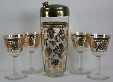 Culver Glass Gold Chantilly Cocktail Shaker & Glasses Set 22k Mid Century