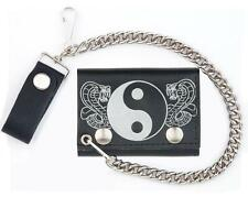GENUINE LEATHER YIN YANG COBRA TRI-FOLD MEN'S WALLET W SNAP ON CHAIN folding NEW