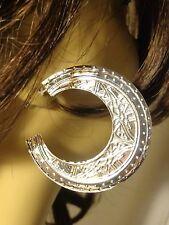 BOHEMIAN EARRINGS EGYPTIAN SILVER TONE HOOP EARRINGS 2.5 INCH HOOPS pierced