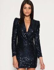 ICONIC BNWT 10 FRENCH CONNECTION SAMANTHA NAVY BLUE BLACK SEQUIN PARTY DRESS LBD