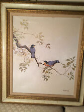 "Huge Thrinidad ""Two Birds On A Branch Scene "" Oil on Canvas Painting - Framed"