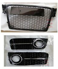 RS4 Style Grille+Fog Light Cover For 09-11 Audi A4 B8  Black Frame Chrome Ring