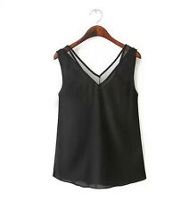 Casual Womens V-Neck Vest Summer Loose Sleeveless Tank T-Shirt Tops Blouse Lace