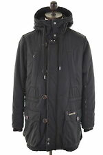 DIESEL Mens Parka Jacket Coat Size 40 Medium Black Cotton
