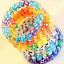 5pcs Womens Hair Rope Ponytail Holder Elastic Candy Telephone Line Hair Bands