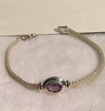 BEAUTIFUL!!!Estate Vintage Sterling Silver, .925  Bracelet w/ Purple Amethyst!!