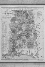 1841 AL ALABAMA Map MARION MARSHALL MOBILE MONROE MONTGOMERY MORGAN COUNTY huge