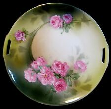 Antique RS Germany Porcelain Double Handle Rose Plate Tilowitz Germany c 1911-45
