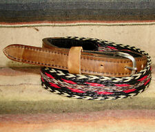 Vintage Black White Red Gray Woven Horsehair / Leather Western Belt Size 30 New