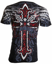 Archaic AFFLICTION Men T-Shirt RED FLAG Cross Wings Tattoo Biker UFC S-4XL $40 a