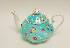 GRACIE TURQUOISE BLUE+WHITE+GOLD+RED FLORAL,PORCELAIN COFFEE POT,TEAPOT-4.5 CUPS