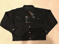 NWT Men's S&J Sportswear Black Denim Flannel Lined Button Down Jean Jacket Sz S