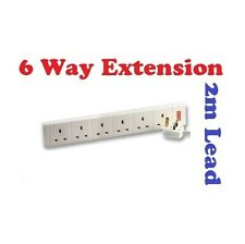 6 Way Gang Electric Extension Socket Lead 2m 13A Cable Plug Multi Way By STATUS