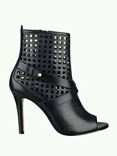 $149 GUESS OPEN TOE PERFORATED BOOTIES BLACK LEATHER SIZE 6