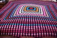 HANDMADE Crochet AFGHAN Throw BLANKET ~Vintage~Black~Multi~Gorgeous~