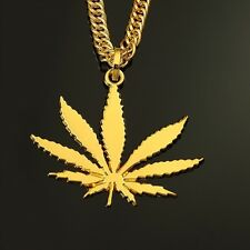 "18k Gold Marijuana Weed Pot Pendant 30"" Link Chain Necklace Cannabis Ganja"