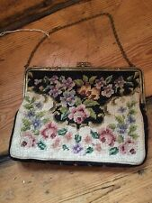 ~*Beautiful Vintage Needle Point Roses Tapestry Evening Bag/Purse*~ (890)