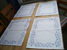 Blaudruck Tischdecke 4 er Platzset SET Damast Indisch Blau 35 x 50 cm neu