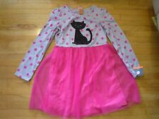 New Holiday Season's Cat Polka Dot Dress Pink and Gray Color Size: Medium (7/8)