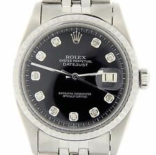 Rolex Datejust Mens Stainless Steel Jubilee Watch with Black Diamond Dial 1603