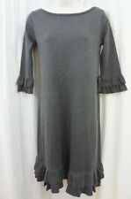 Jessica Howard Sweater Dress Sz M Grey Solid Ruffled 3/4 Sleeve Casual Business